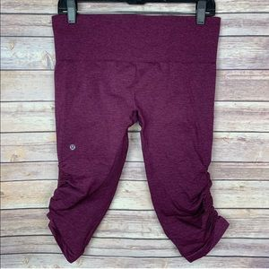 Lululemon In The Flow II Ruched Berry Yum Crop